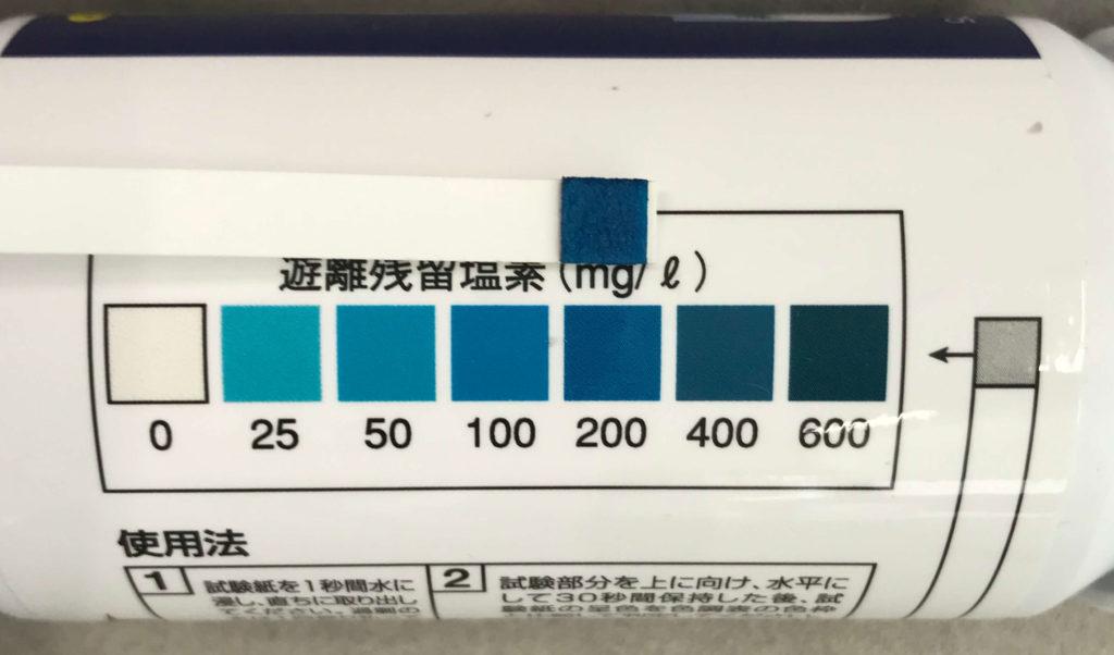 約3ヶ月後の次亜塩素酸水の濃度調べてみました。